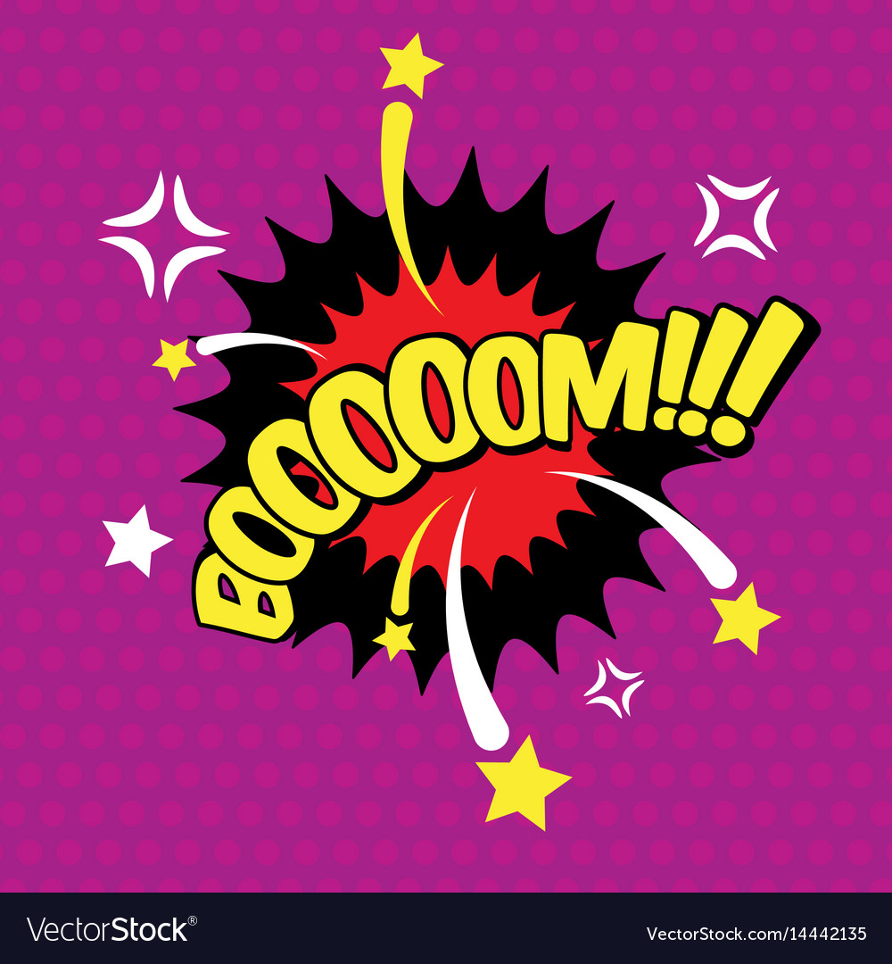 Boom comic inscription text speech bubble burst vector image
