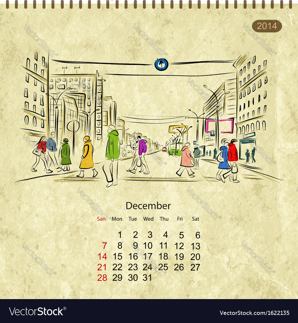 Calendar 2014 december Streets of the city sketch vector image