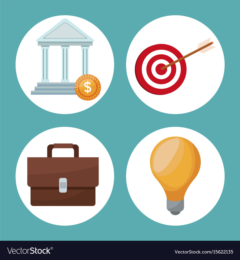Color background icons analytics investment vector image