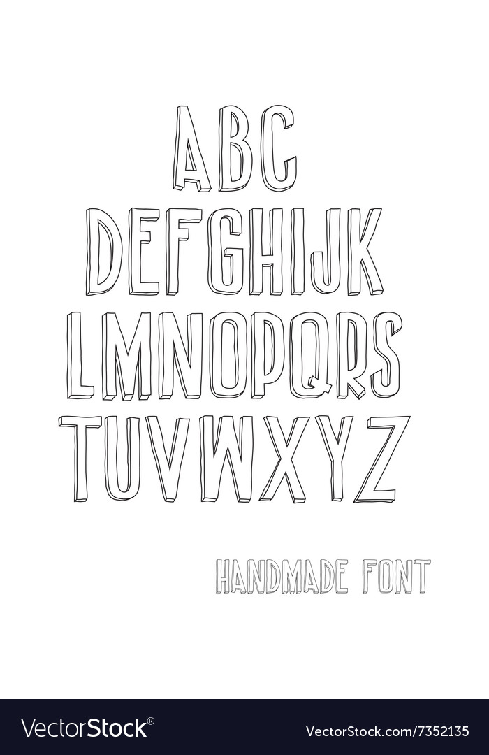 Letters of the alphabet written with a hand vector image