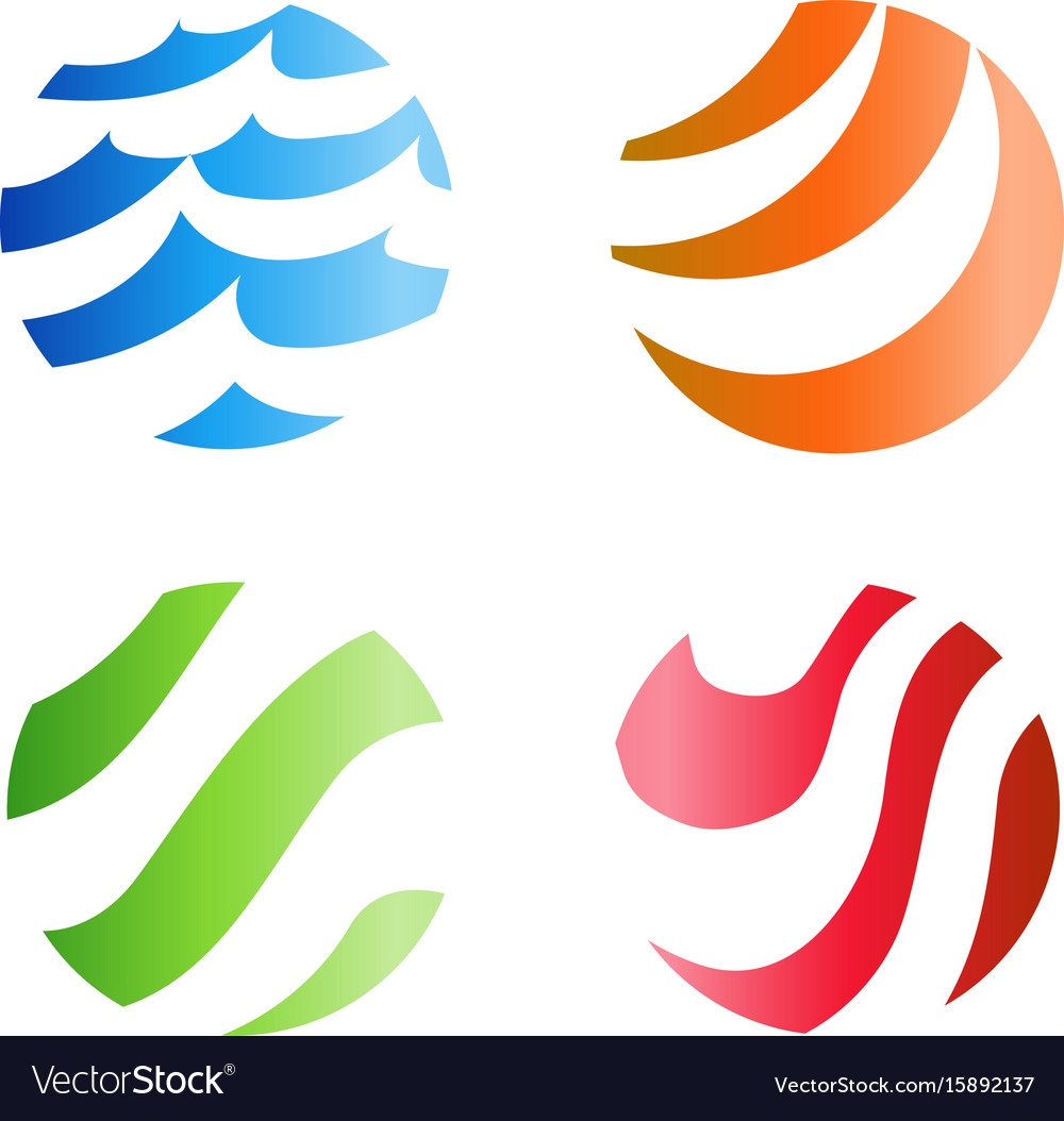 Colorful wavy stripped logo isolated abstract vector image