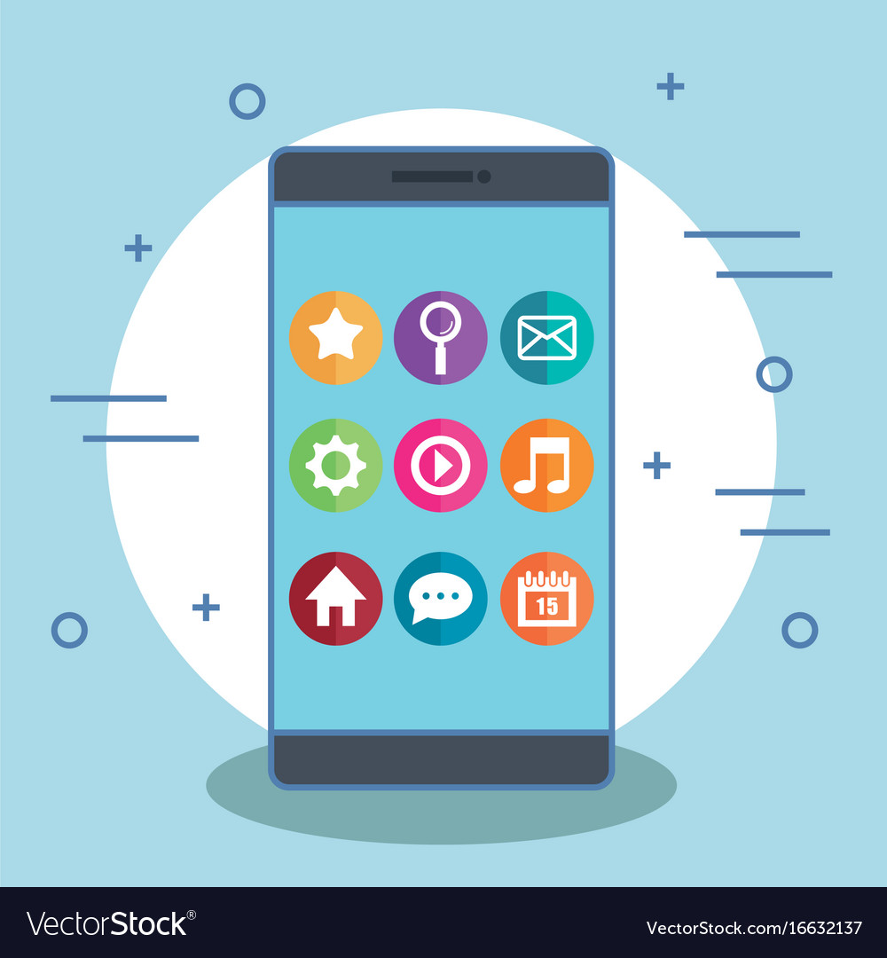 Smartphone with app icons on its screen vector image