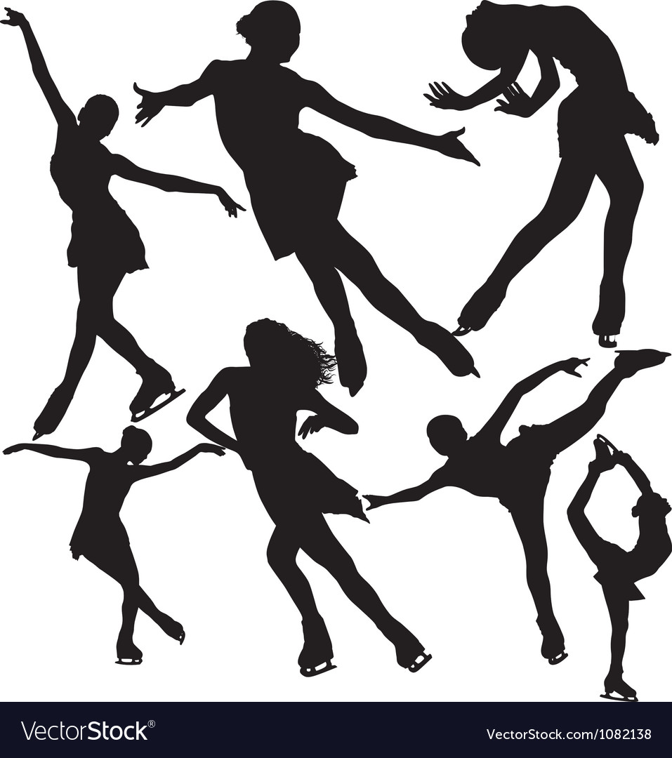 Figure ice skating silhouettes set vector image