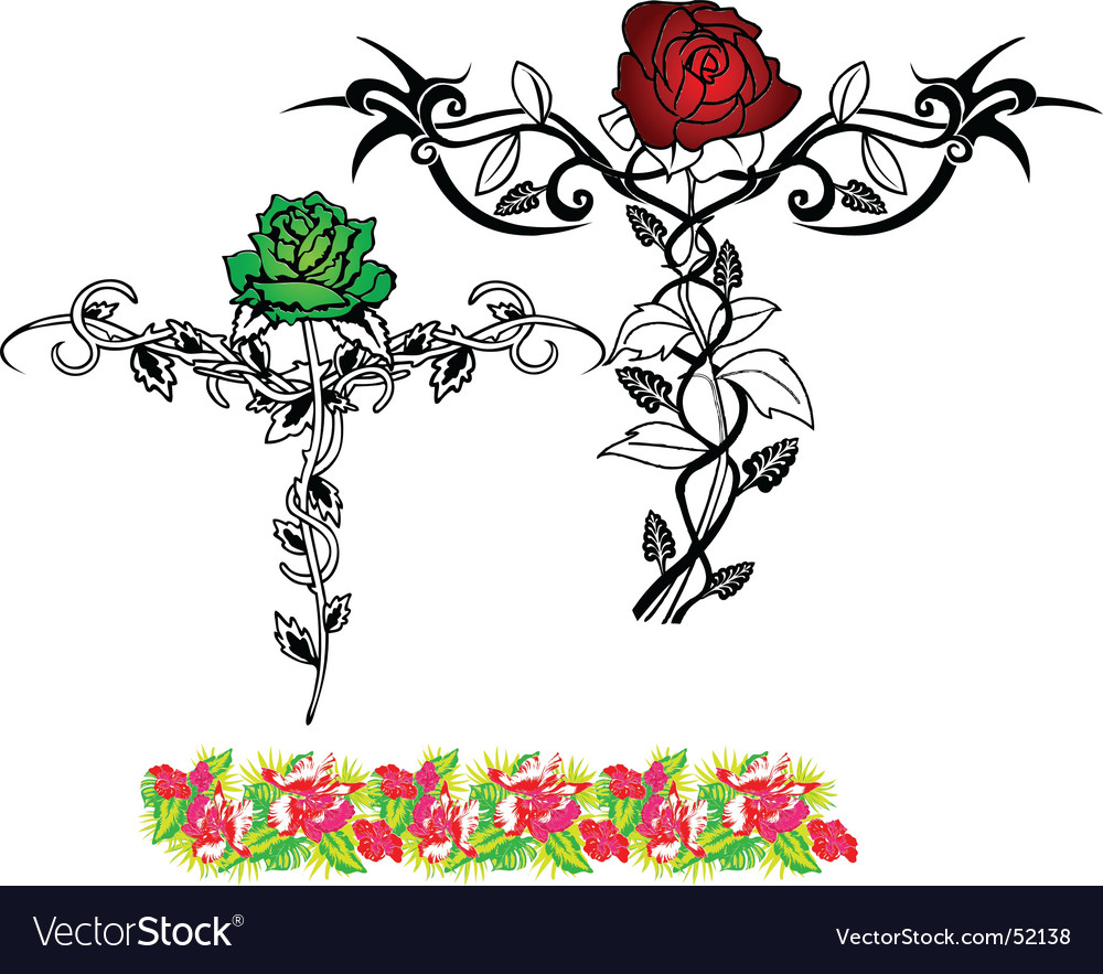 Tattoo flower rose vector image