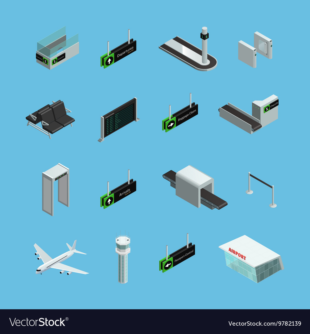 Airport Isometric Icons Set vector image
