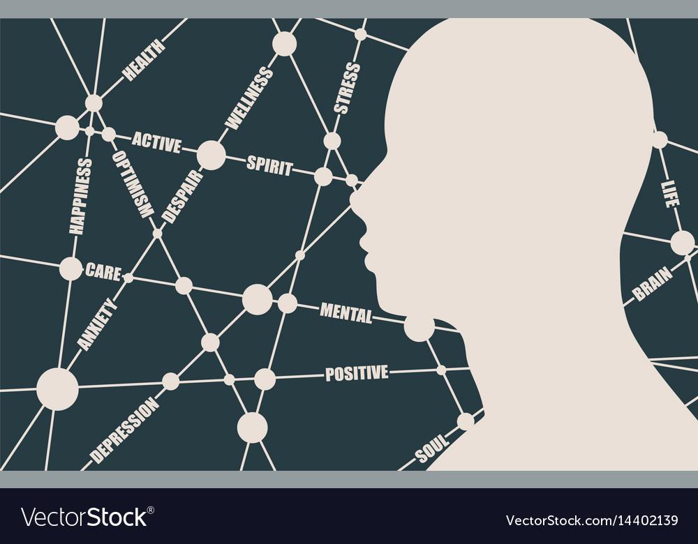 Mental health relative words cloud vector image