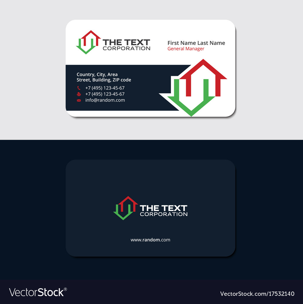 Business card for a real estate manager Royalty Free Vector