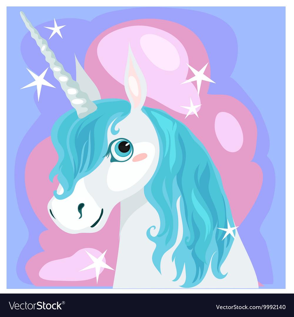 Female unicorn with blue mane vector image