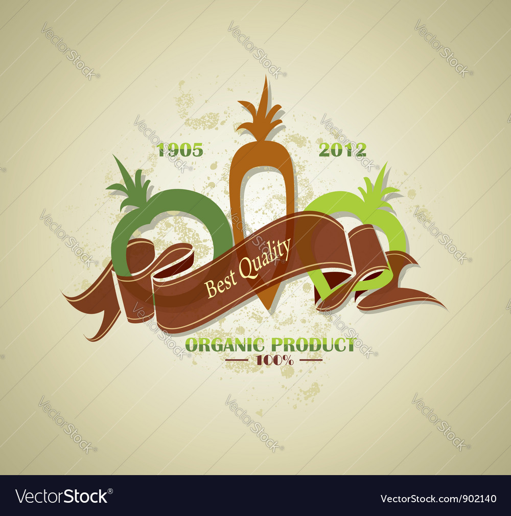 Organic farm food label vector image