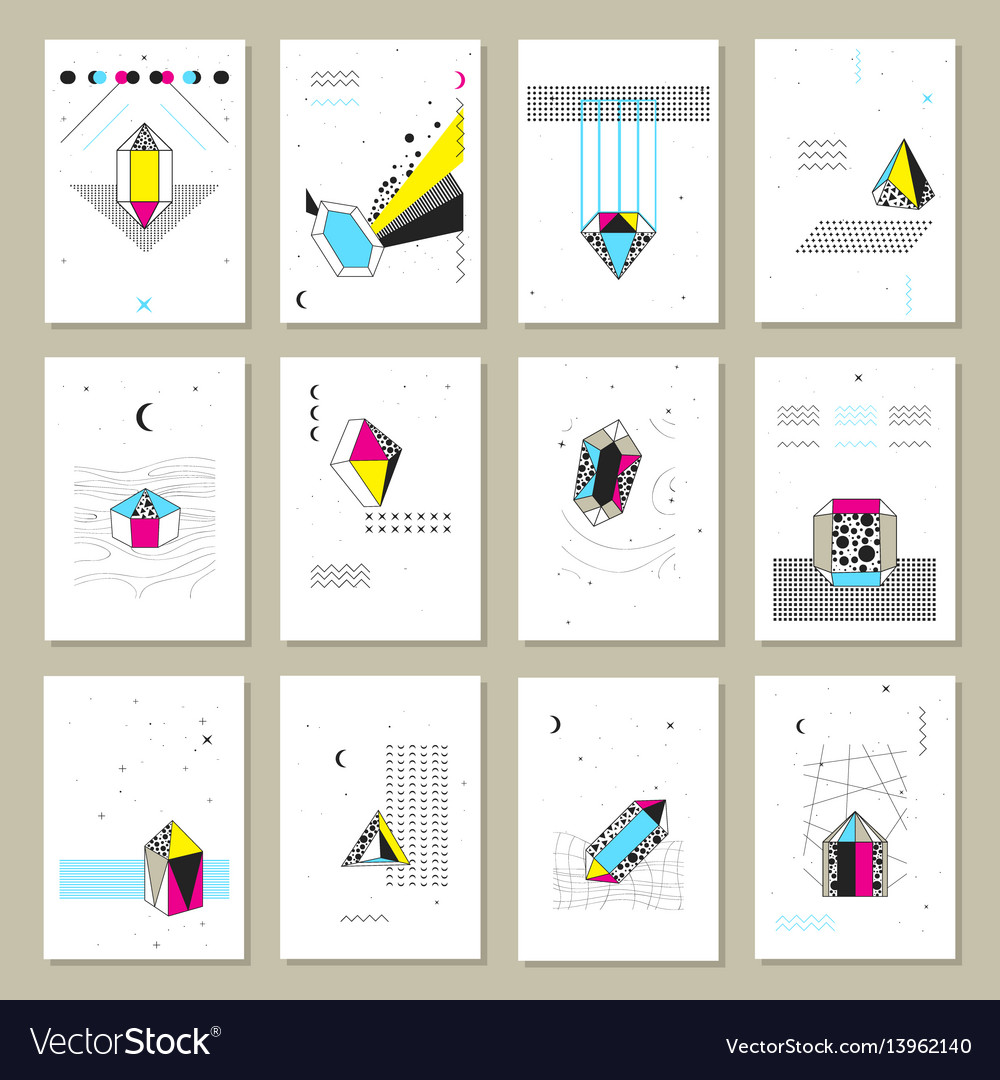 Polygonal crystals mini banners collection vector image