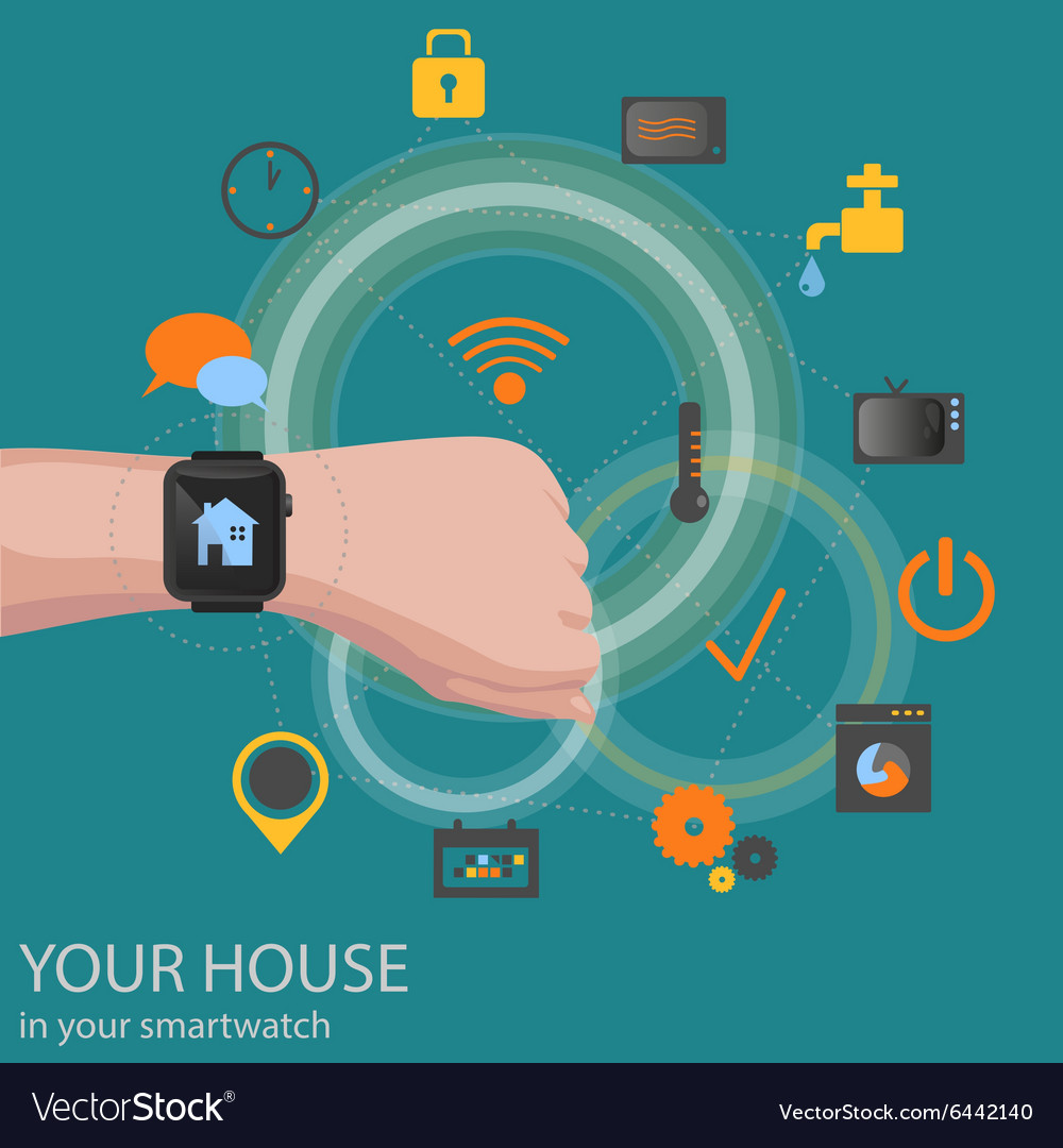 Smart home detectors controlling via smartwatch vector image