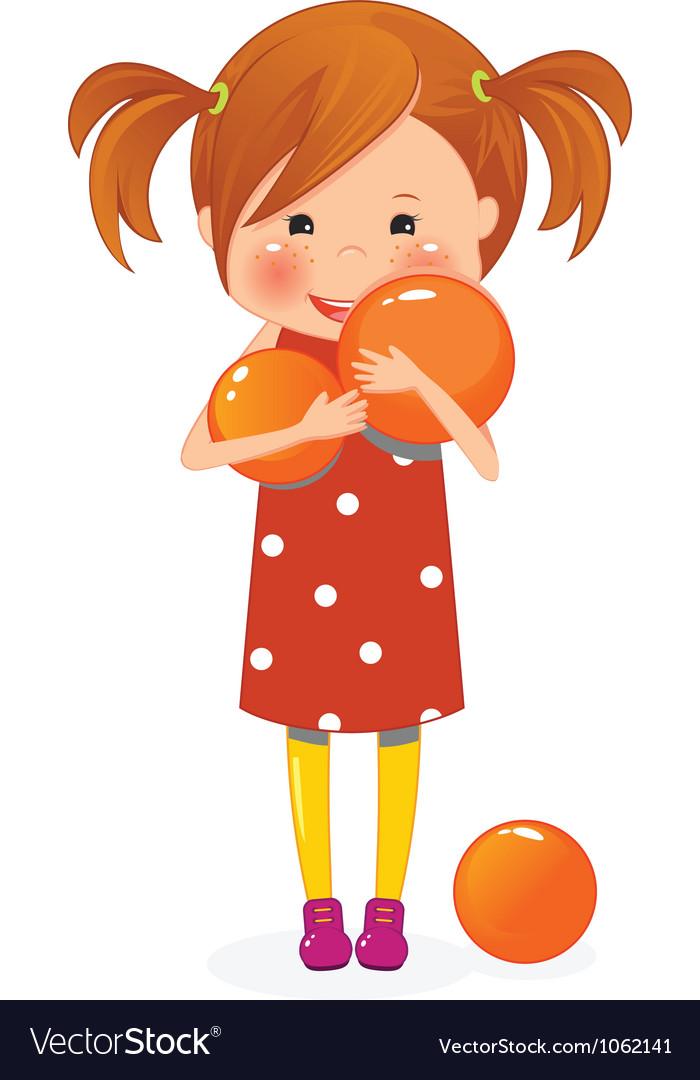 Little girl with orange ball vector image