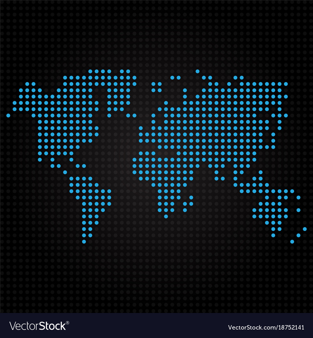 Blue dotted world map on black background vector image blue dotted world map on black background vector image gumiabroncs Images
