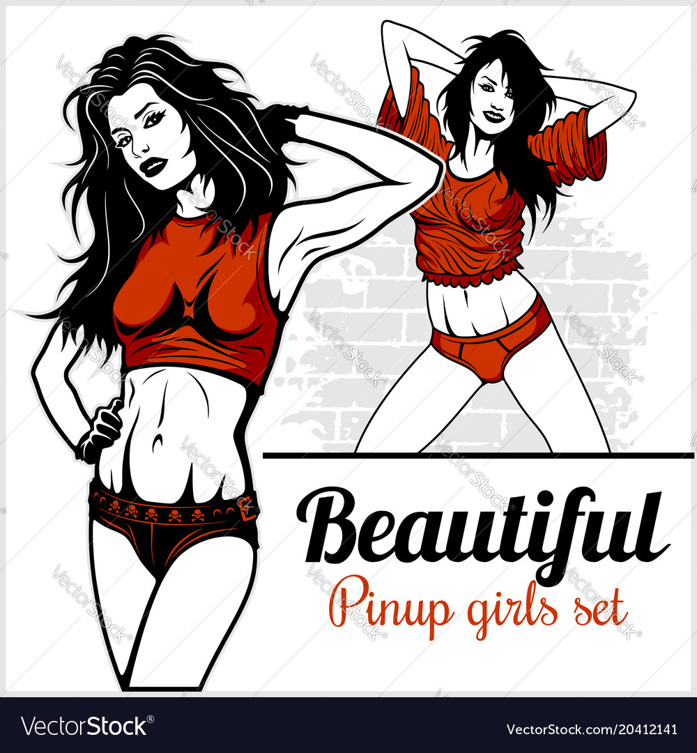 Pretty pin up girl on white vector image