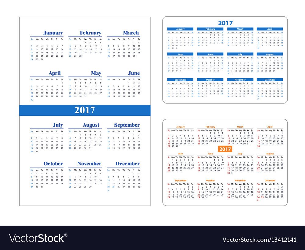 Set calendar on 2017 year vector image