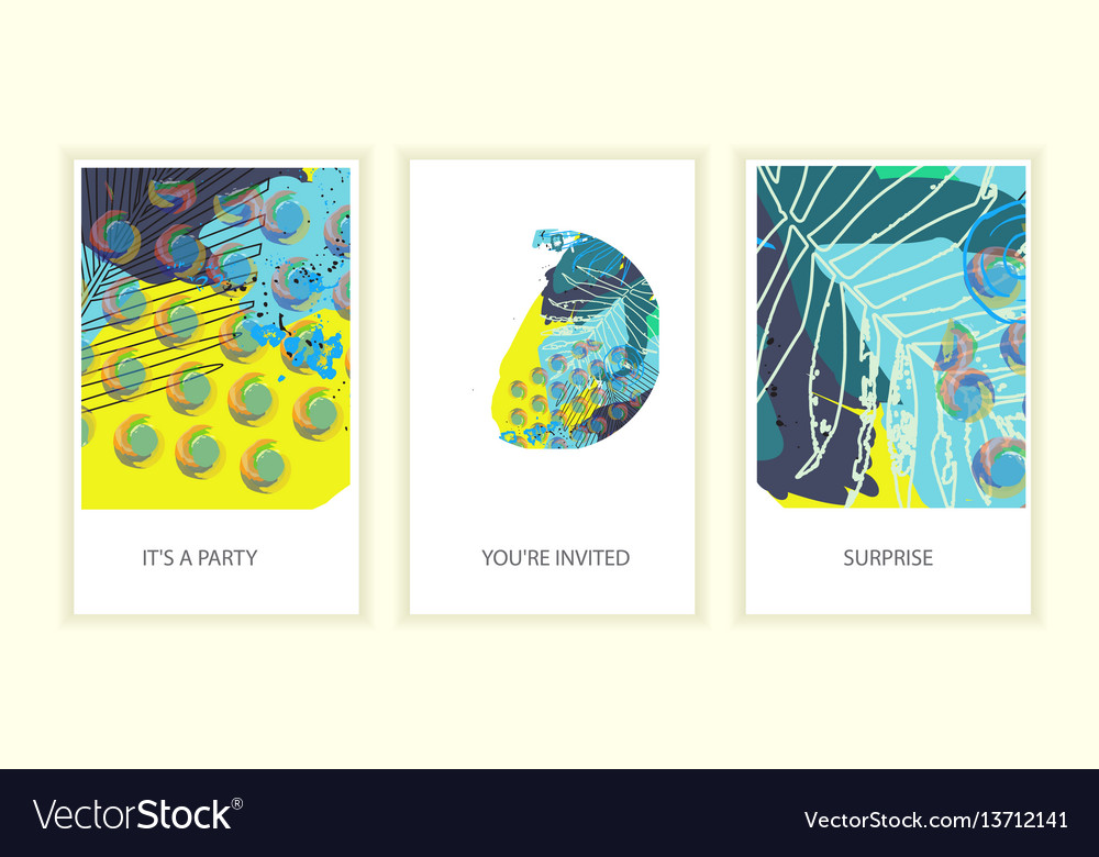 Set of universal tropic style posters vector image