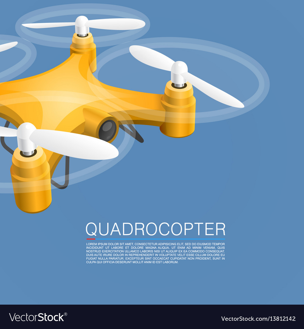 Quadrocopter unmanned camera vector image