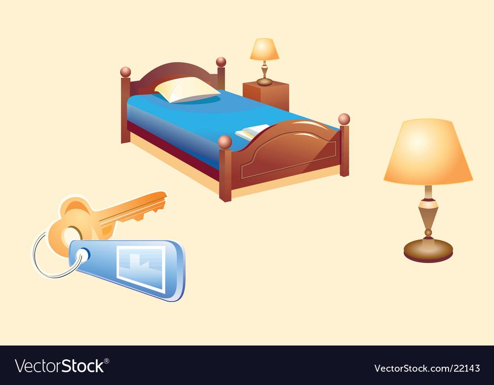 Hotel room furniture vector image