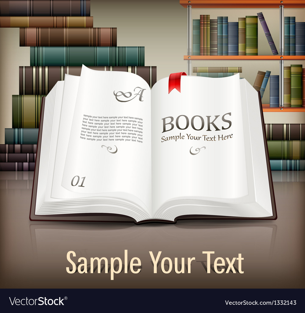 Books open with text on desk vector image