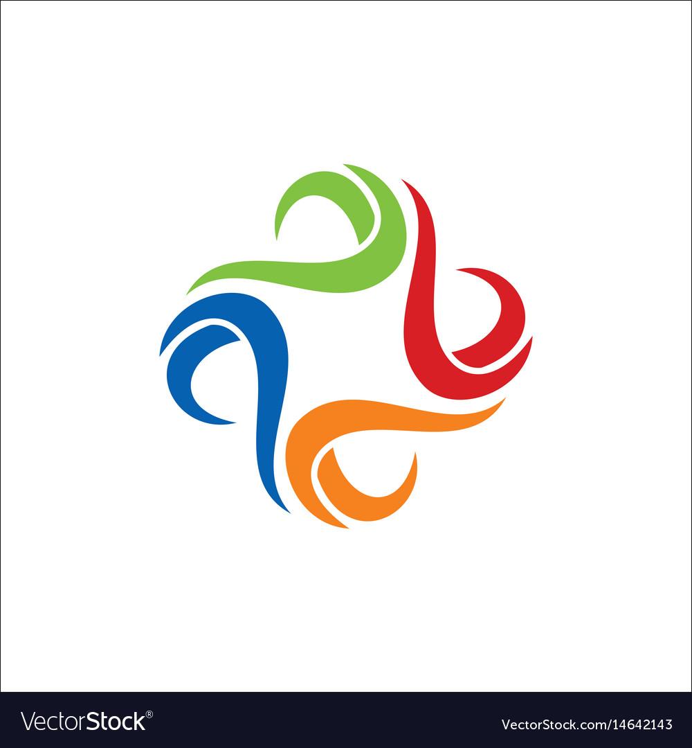 Colorful circle wave logo vector image
