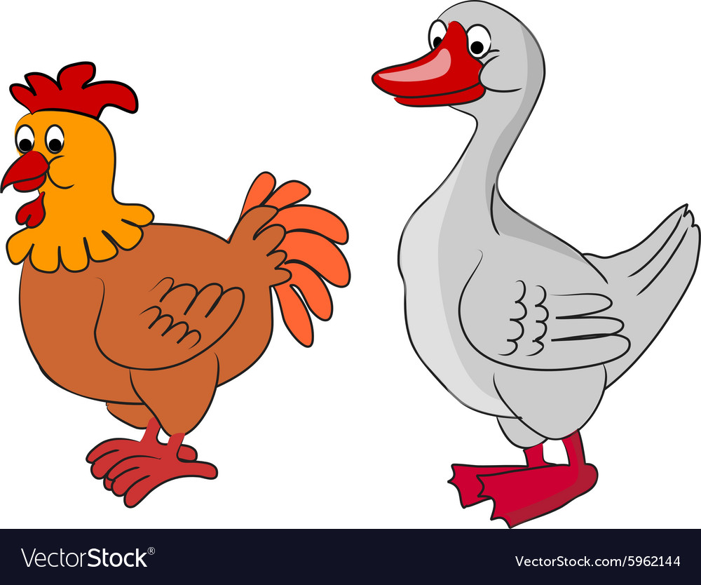 cartoon goose and chicken royalty free vector image