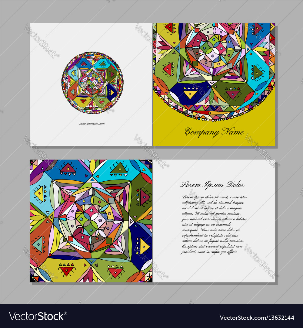 Greeting card design ethnic mandala vector image