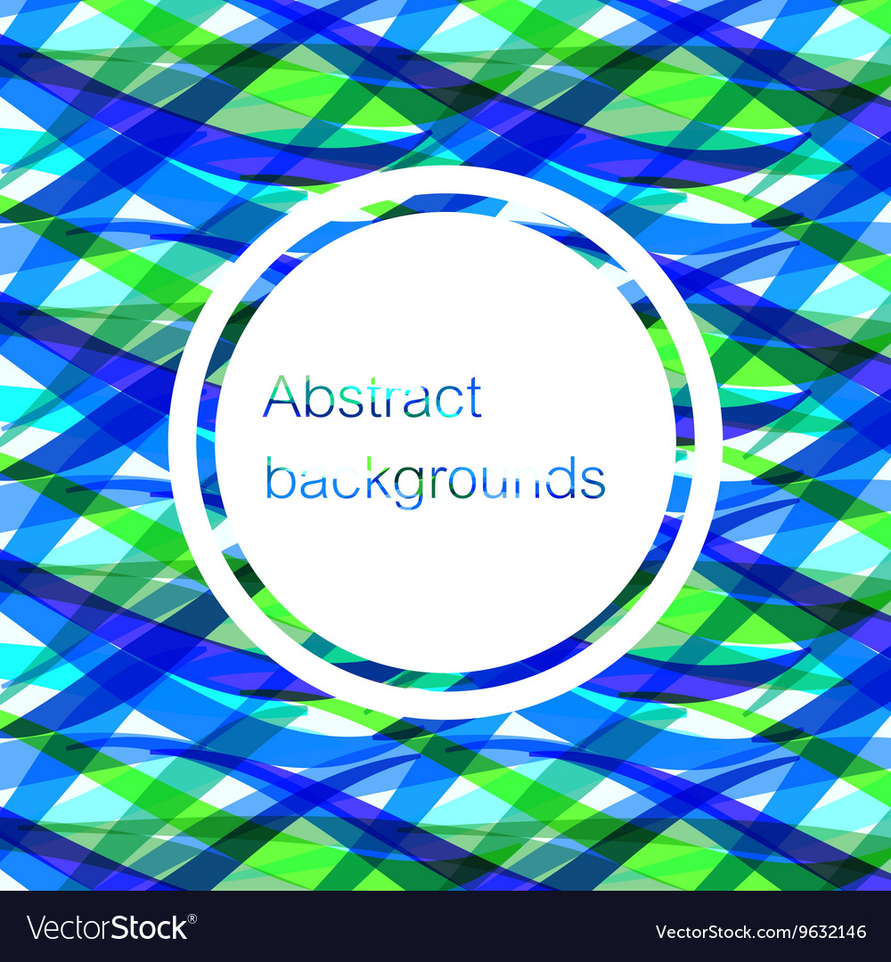 Wave lines overlap green and blue abstract vector image