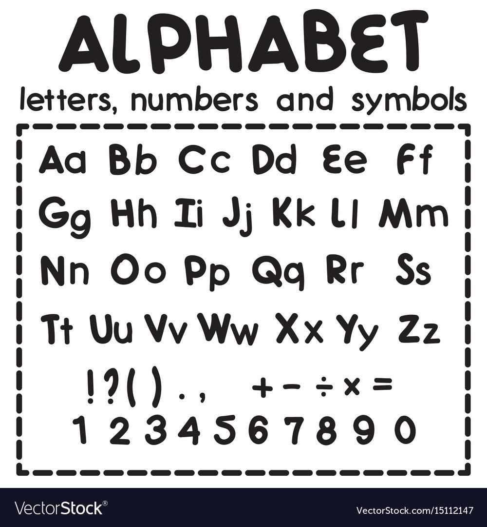 Black latin alphabet isolated on white background vector image