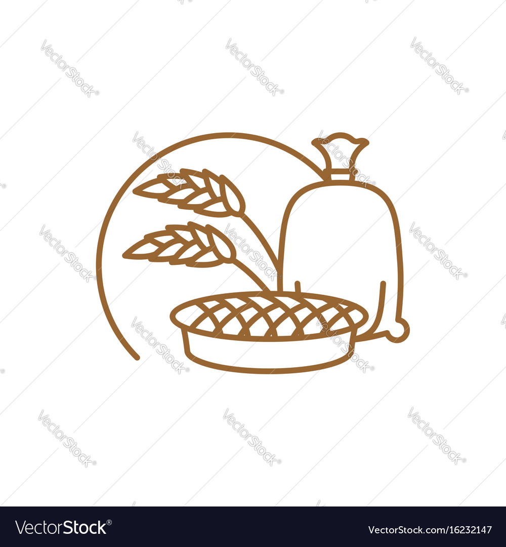 Flour bag and pie line icon sign for production vector image