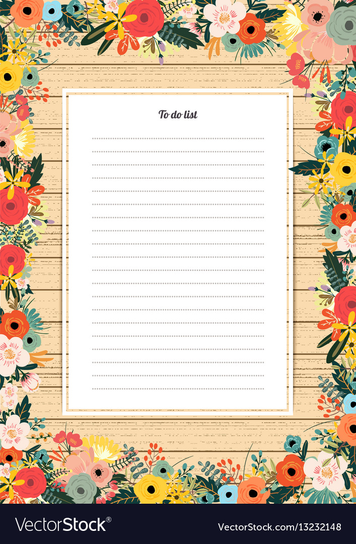 Flowers poster template to do list with a bouquet vector image