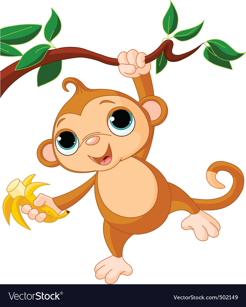 Baby monkey on a tree Vector Image