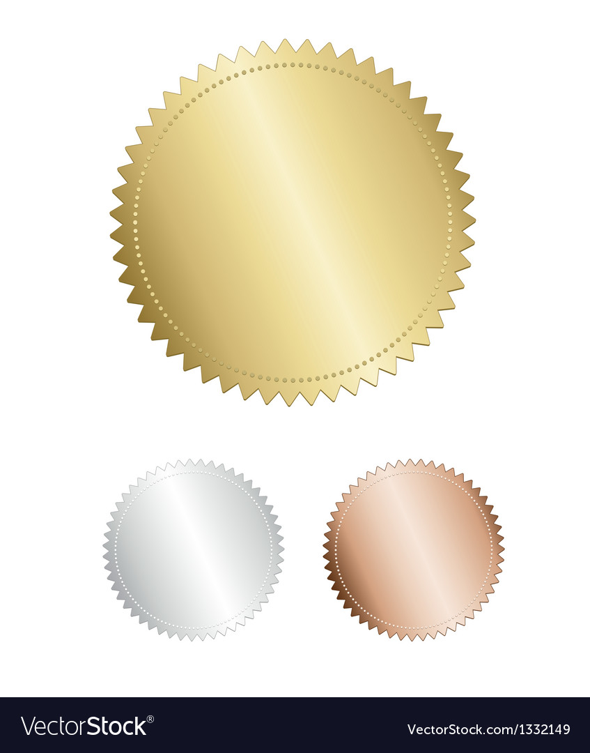 Gold Award seal medals set on white background vector image