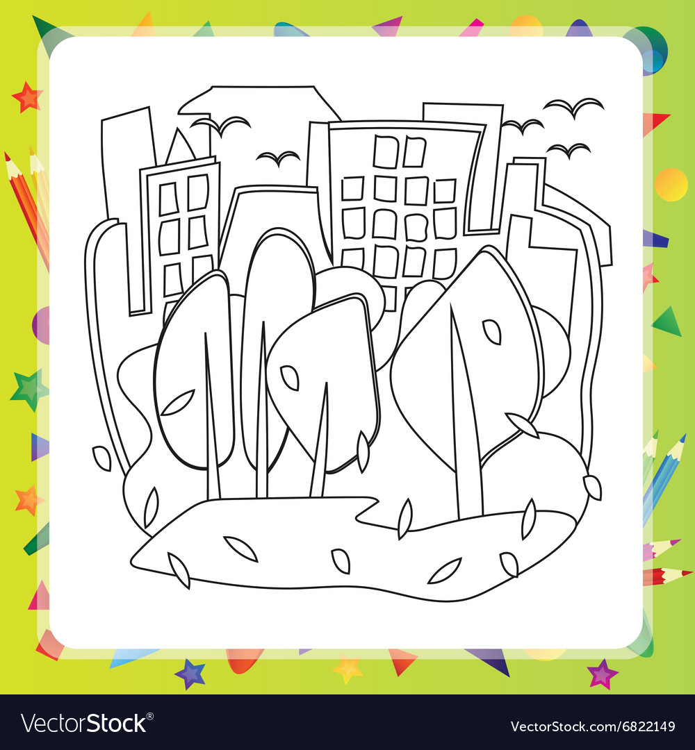 Houses and trees - Autumn coloring book vector image