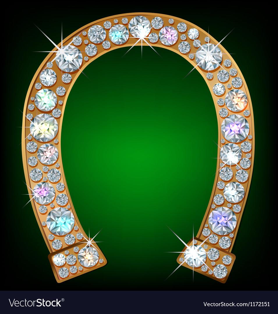 Horseshoe with diamonds vector image