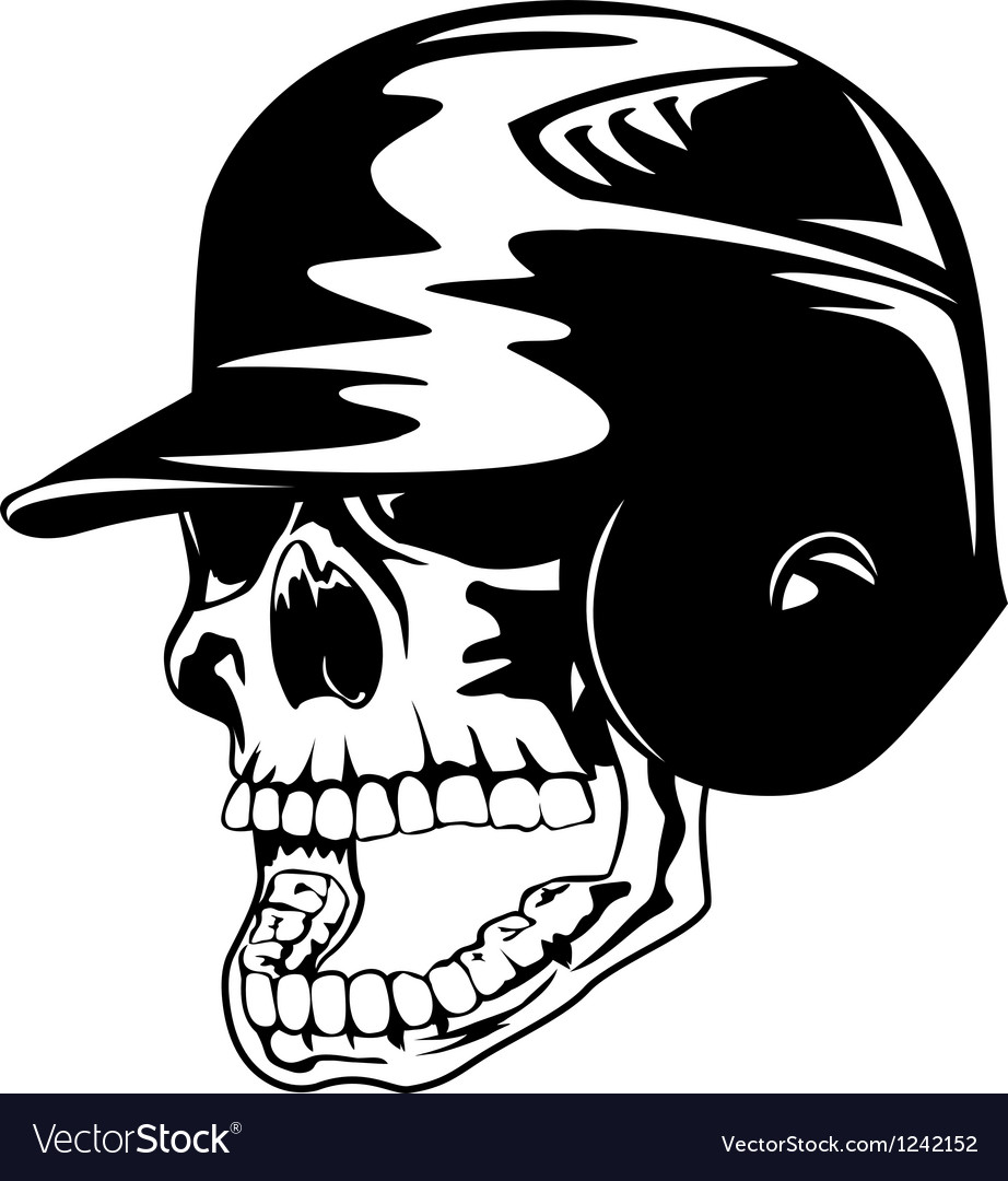 Skull in baseball helmet vector image
