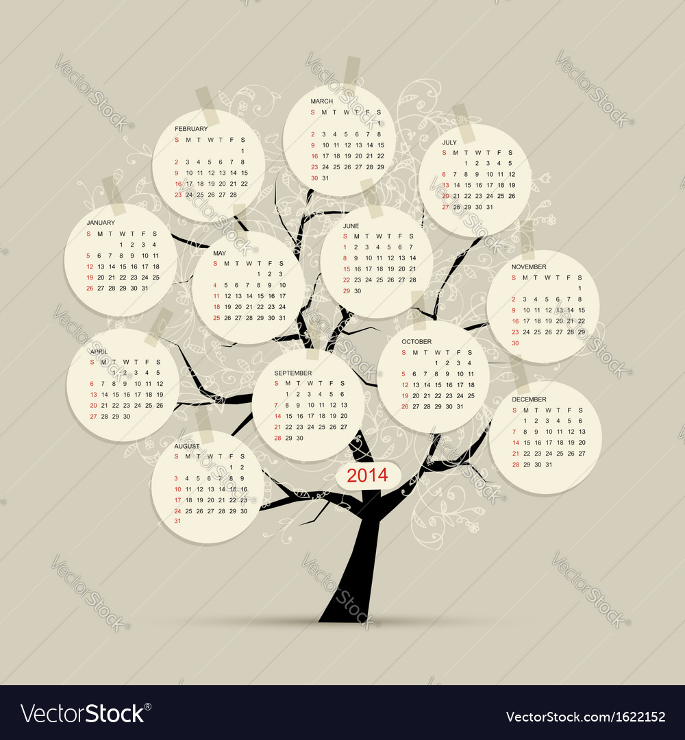 Calendar tree 2014 for your design vector image