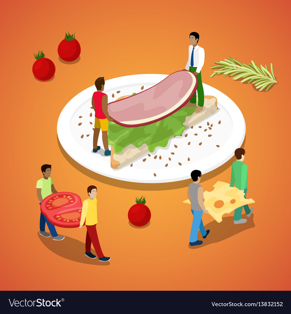 People making sandwich with ham and cheese vector image