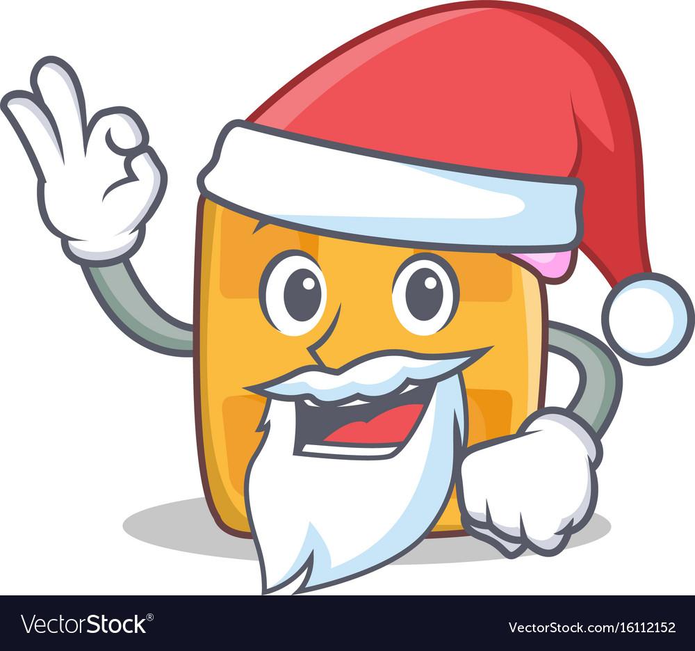 Santa waffle character cartoon design vector image