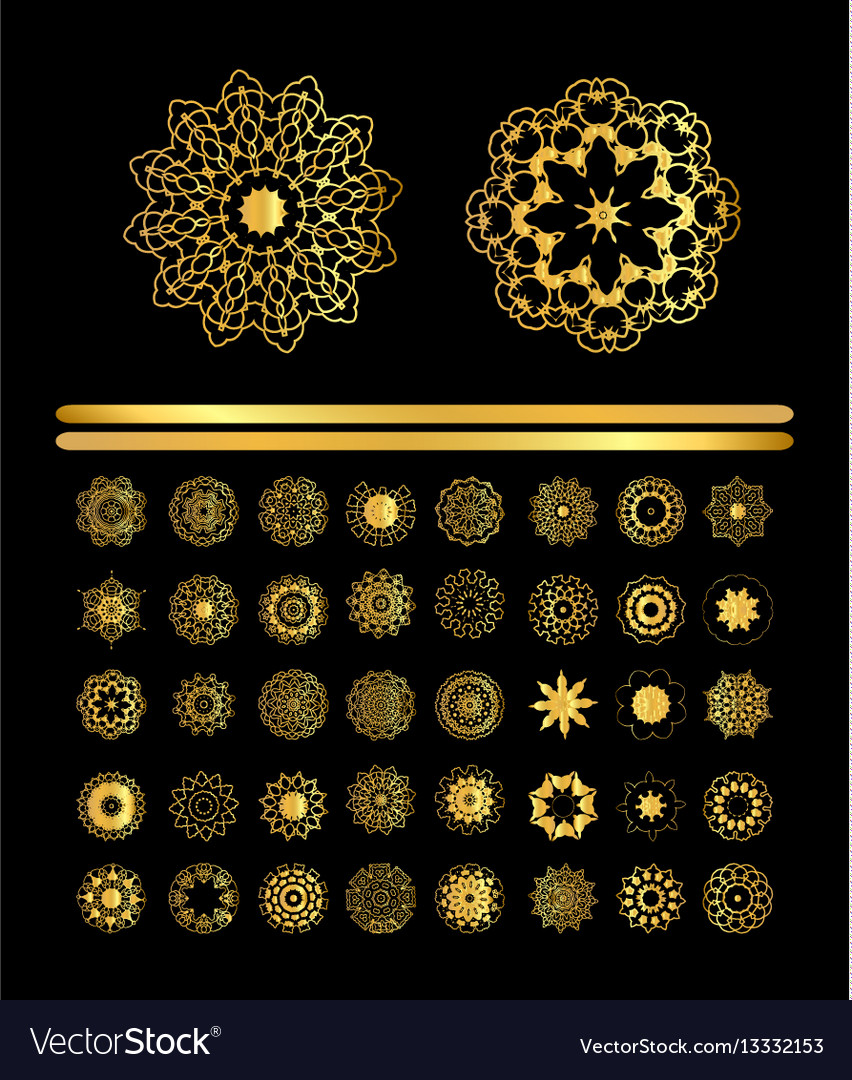 Ornamental golden round lace background vector image