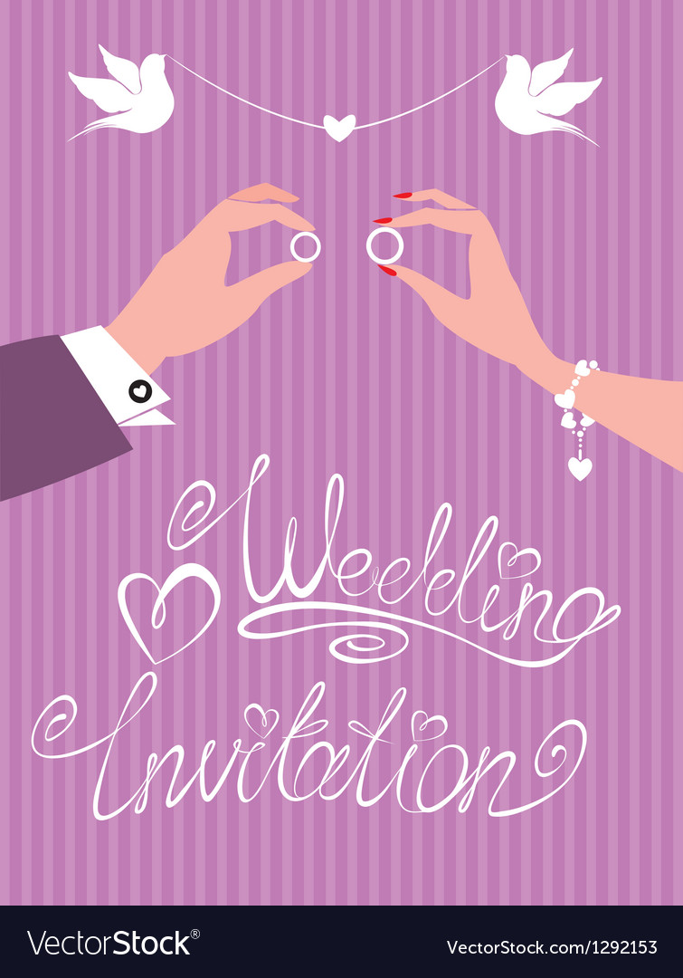 Wedding invitation - groom and bride hands vector image