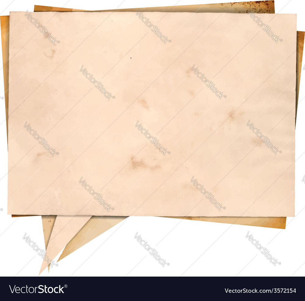 Aged paper speech bubble vector image