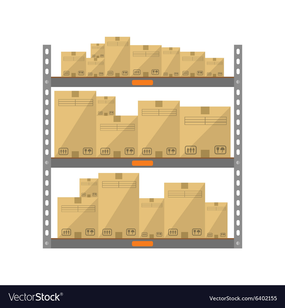Boxes on the shelves vector image