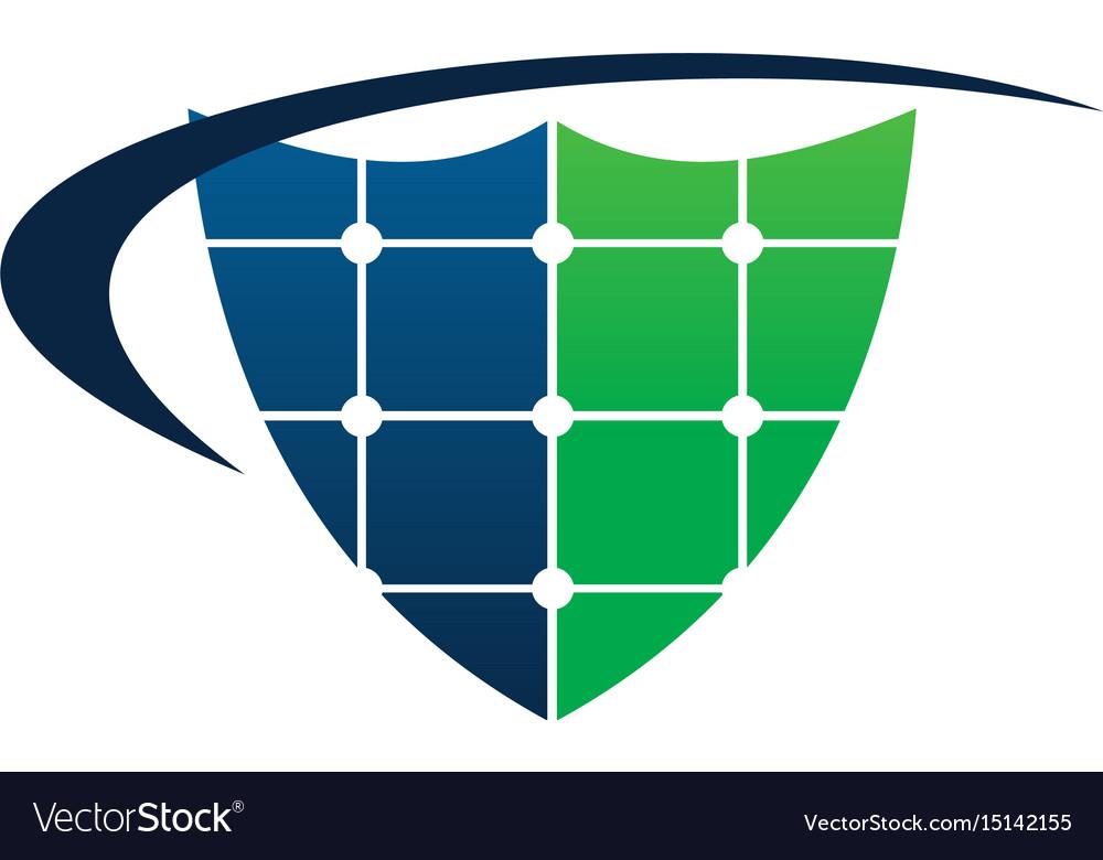 Cell solar shield swoosh vector image