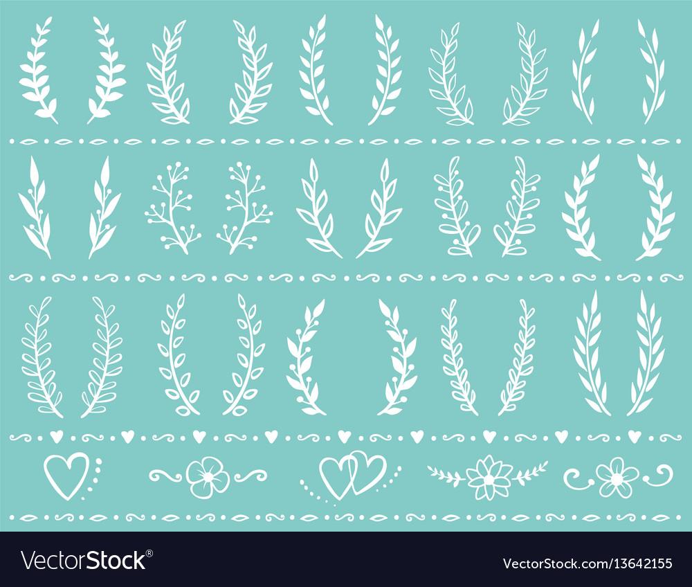 Vintage wreath set vector image