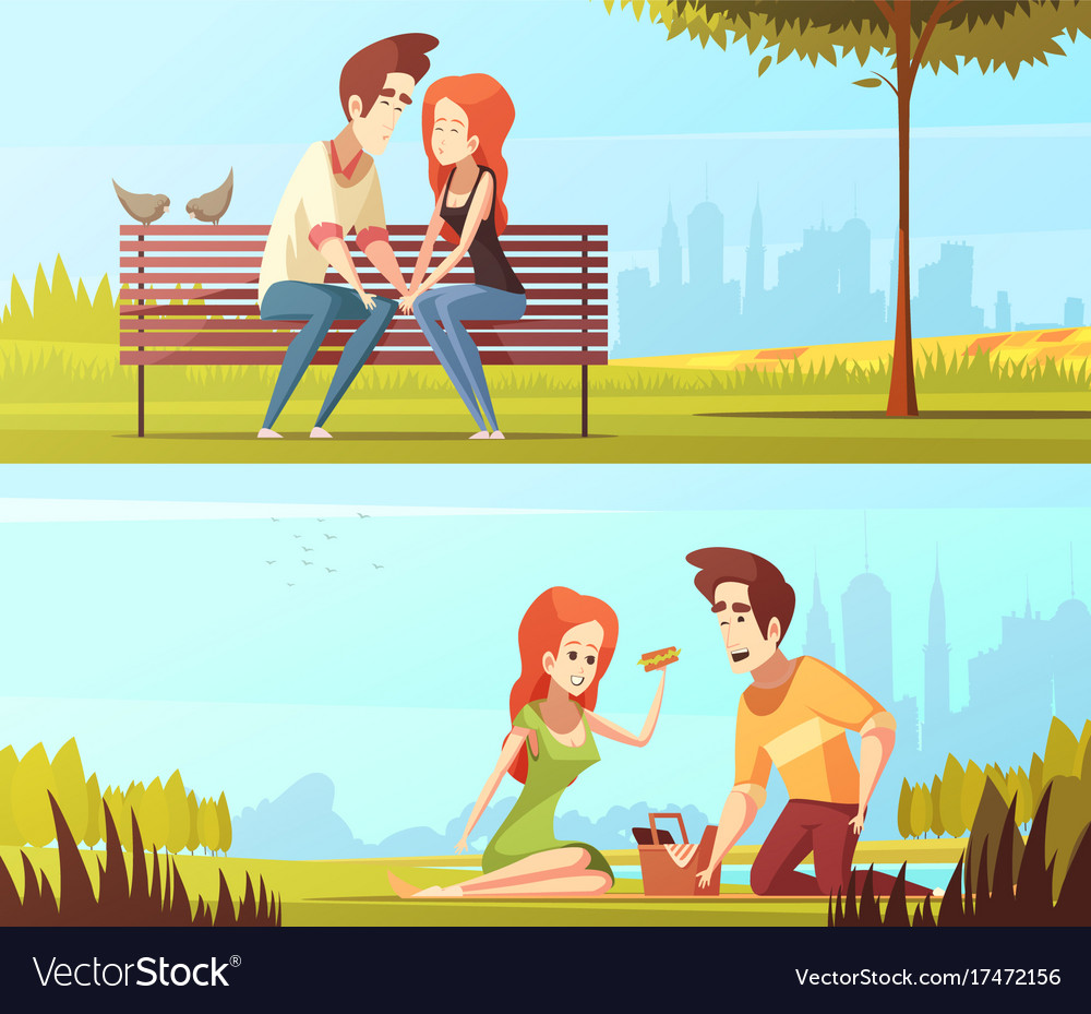 Couple in love horizontal banners vector image