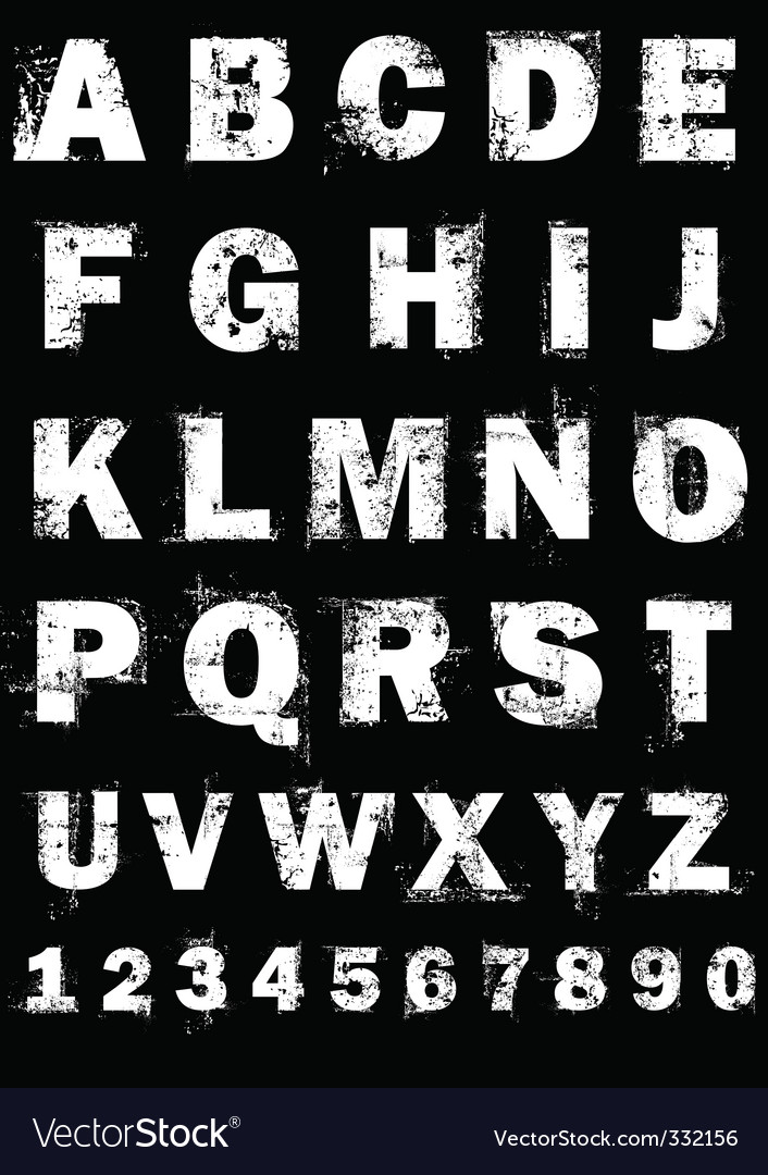 Grunge alphabet and numbers vector image