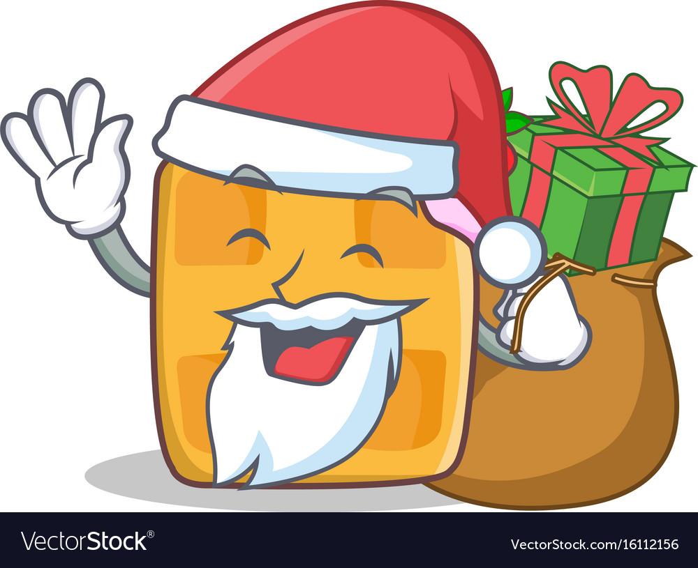 Santa waffle character cartoon design with gift vector image