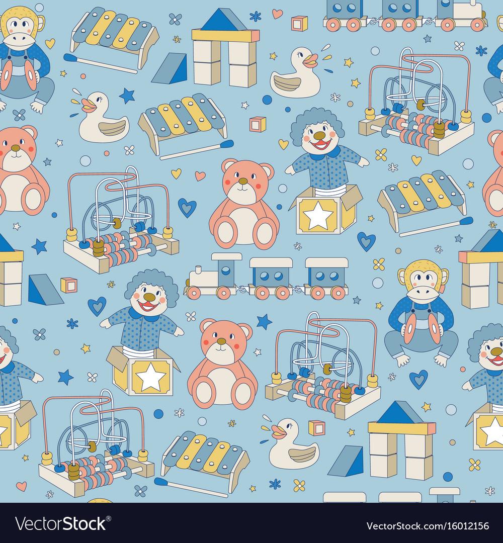 Seamless pattern children vintage toys blue vector image