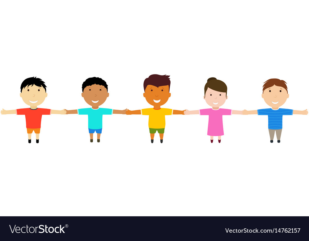 Group of happy friends holding hands vector image