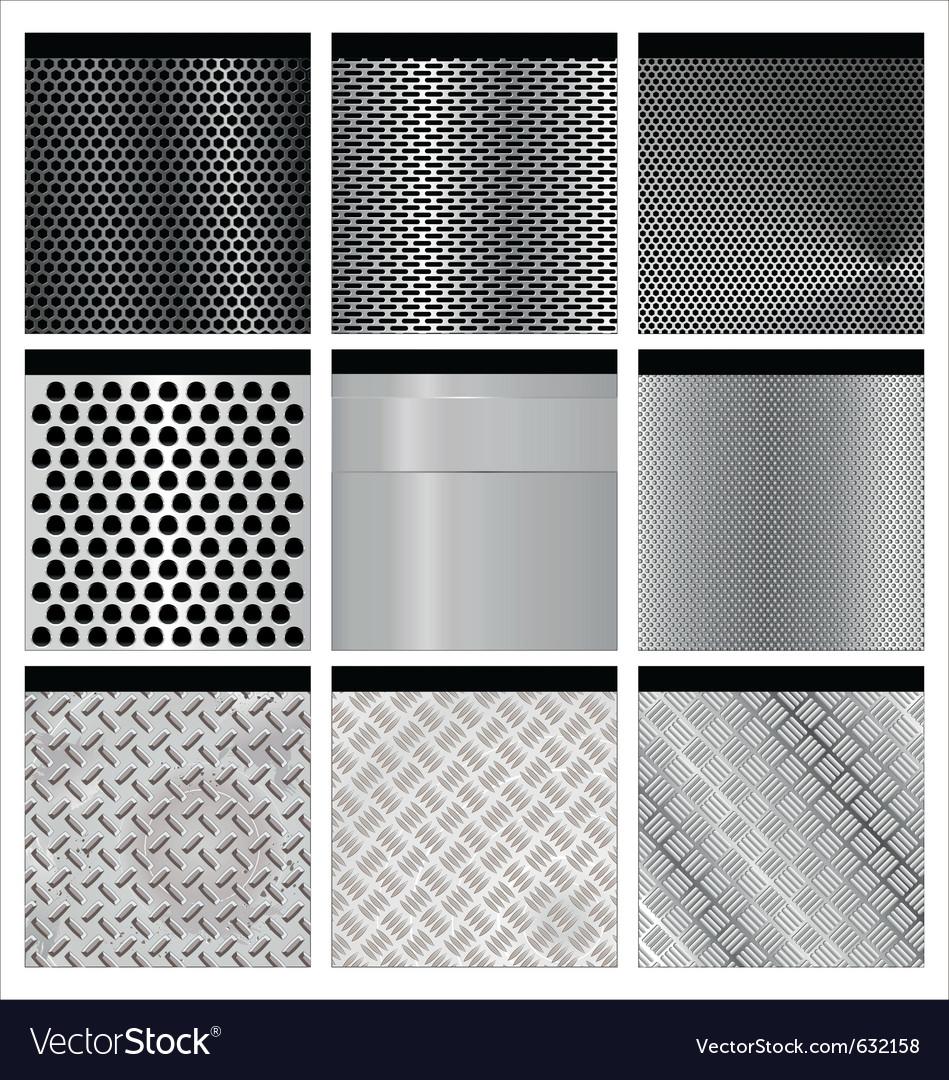 Metal textures set vector image